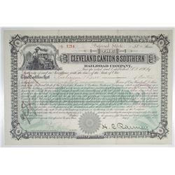Cleveland, Canton & Southern Railroad Co. 1894 I/U Stock Certificate