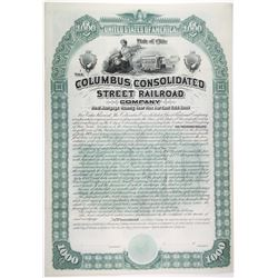 Columbus Consolidated Street Railroad Co. 1889 Specimen Bond