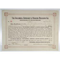 Columbus, Sandusky & Hocking Railroad Co. 1896 I/U 50 Year Gold Bond Scrip.