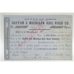 Dayton & Michigan Rail Road Co. 1857 I/C Stock Certificate