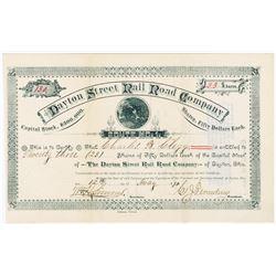 Dayton Street Rail Road Co., 1890 I/U Stock Certificate.