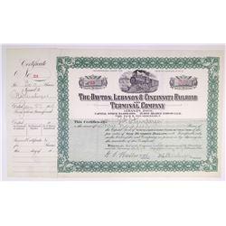 Dayton, Lebanon & Cincinnati Railroad and Terminal Co. 1909 I/U Stock Certificate