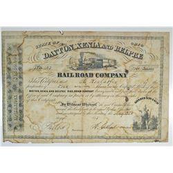 Dayton, Xenia and Belpre Railroad Co. 1855 I/U Stock Certificate