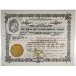 Jackson and Huntington Railroad Co. 1901 I/U Stock Certificate