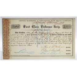 Marietta & Cincinnati Rail Road Co. 1860 I/C First Class Preference Scrip Certificate.