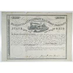 Marietta & Cincinnati Railroad Co. 1855 I/U Coupon Bond