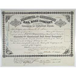 Marietta and Cincinnati Rail Road Co., 1865 I/U Stock Certificate