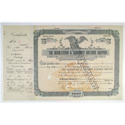 Middletown & Cincinnati Railroad Co. 1902 I/C Stock Certificate
