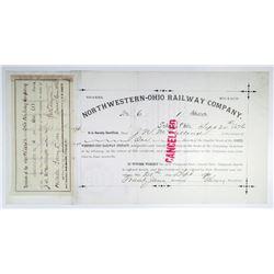 Northwestern-Ohio Railway Co. 1876 I/C Stock Certificate