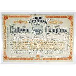 Ohio Central Railroad Co. 1885 I/U Stock Certificate