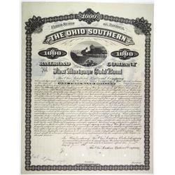 Ohio Southern Railroad Co. 1881 Specimen Bond Rarity