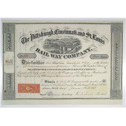Pittsburgh, Cincinnati and St. Louis Railway Co. 1868 I/U Stock Certificate Rarity