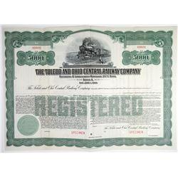 Toledo and Ohio Central Railway Co. 1935 Specimen Bond