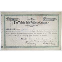 Toledo Belt Railway Co. 1912 I/C Stock Certificate