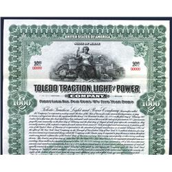 Toledo Traction, Light and Power Co. 1913. Specimen Bond.