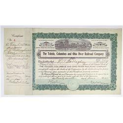 Toledo, Columbus and Ohio River Railroad Co. 1911 I/C Stock Certificate