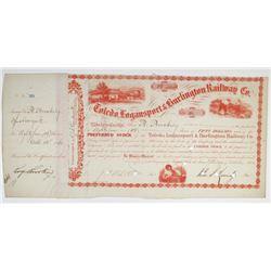 Toledo, Logansport & Burlington Railway Co. 1862 I/C Stock Certificate Signed by John S. Kennedy