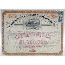 Toledo, Tiffin & Eastern Railroad Co. 1872 I/U Stock Certificate