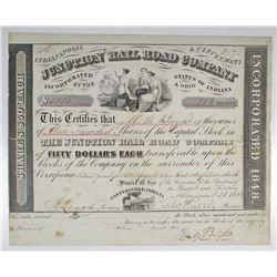 Junction Rail Road Co. 1858 I/U Stock Certificate