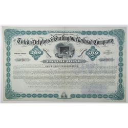 Toledo, Delphos & Burlington Railroad Company - Southeastern Division, 1881 I/U Bond