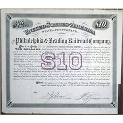 Philadelphia & Reading Railroad Co. 1877 I/U Bond