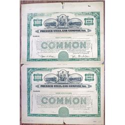 Pressed Steel Car Co., Inc. 1936 Uncut Proof Stock Certificate Pair