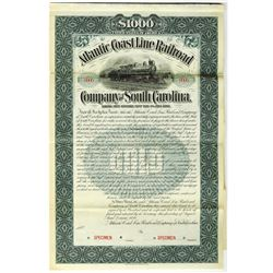 Atlantic Coast Line Railroad Co. of South Carolina 1898 Specimen Bond Rarity