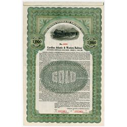 Carolina Atlantic & Western Railway. 1914. Specimen Bond.