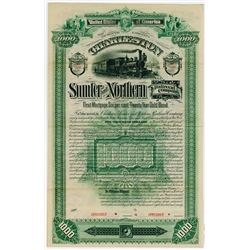 Charleston Sumter & Northern Railroad Co. 1890. Specimen Bond.
