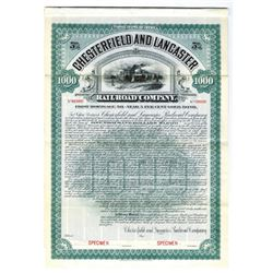 Chesterfield and Lancaster Railroad Co. 1905 Specimen Bond