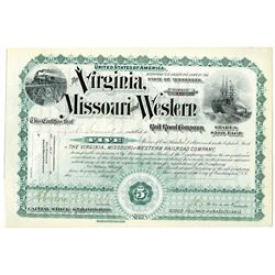 Virginia, Missouri and Western Railroad Co., 1897 I/U Stock Certificate