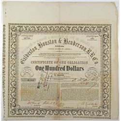 Galveston, Houston & Henderson Railroad Co. 1857 I/U Bond