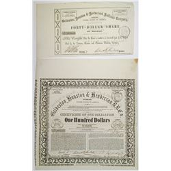 Galveston, Houston & Henderson Railroad Co., 1857 I/U Bond & Fractional Stock Certificate Pair