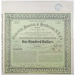 Galveston, Houston & Henderson Railroad Company, Amsterdam Emission, 1857 I/U Bond