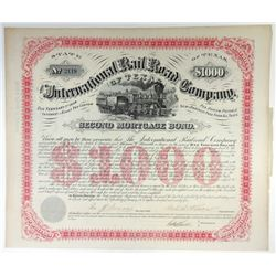 International Rail Road Co., 1874 I/U Coupon Bond Signed by Galusha Grow.