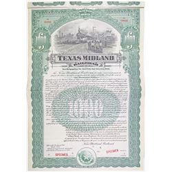 Texas Midland Railroad 1908 Specimen Bond