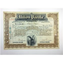 Union Pacific Railroad Co., 1927 I/C Stock Certificate Rarity