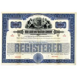 Utah Light and Traction Co. 1914 Specimen Bond Rarity