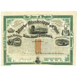 Atlantic Mississippi & Ohio Rail Road Co. 1871, I/C Bond Signed by Confederate General William Mahon