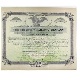 Big Stony Railway Co. 1896 I/C Stock Certificate with Low Serial #11.