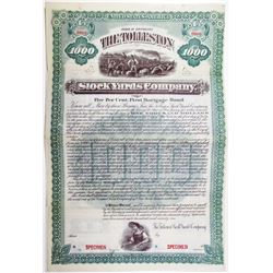 Tolleston Stock Yards Co. 1891 Specimen Bond