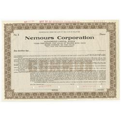 Nemours Corp., 1965 Odd Shares Specimen  Stock Certificate owned by the DuPont family.