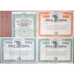 States of Alabama, 1906 Trio & City of Florence, 1899 Specimen Bond Quartet