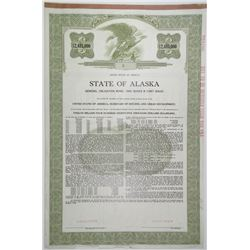 State of Alaska, 1967, $12,485,000 Specimen Bond and Payment Record Issued for March 27th, 1964 Eart