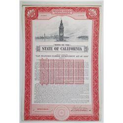 State of California, San Francisco Harbor Improvement Act of 1929, 1953 Specimen Bond