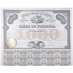 State of Florida, 1870 I/U Bond Signed by Governor Harrison Reed