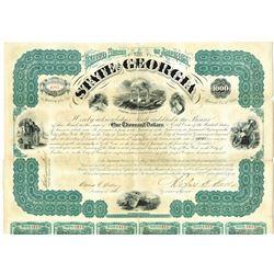State of Georgia 1870 I/U Bond Signed by Governor Rufus B. Bullock.