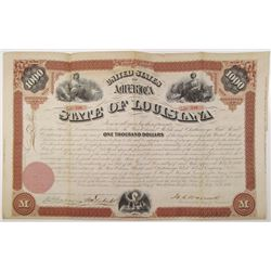 State of Louisiana 1870 I/U Bond Signed by Henry C. Warmoth