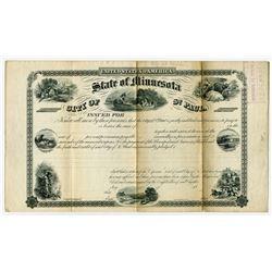 State of Minnesota, City of St. Paul, 1860's Specimen Bond