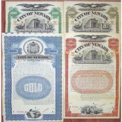 City of Newark Specimen Bond 1897 to 1907 Quartet